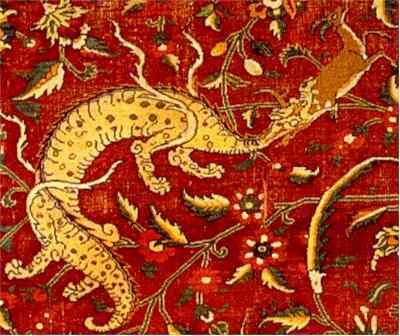 Azi Dahaka, minus 2 heads, Persian tapestry