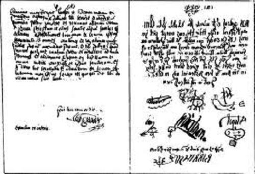 Father Urbain Grandier's of Loudun's alleged pact with the devil, countersigned by the law offices of Lucifer, Beelzebub, Satan, Elimi, Leviathan, Astaroth, and Baalbarith, c.1634