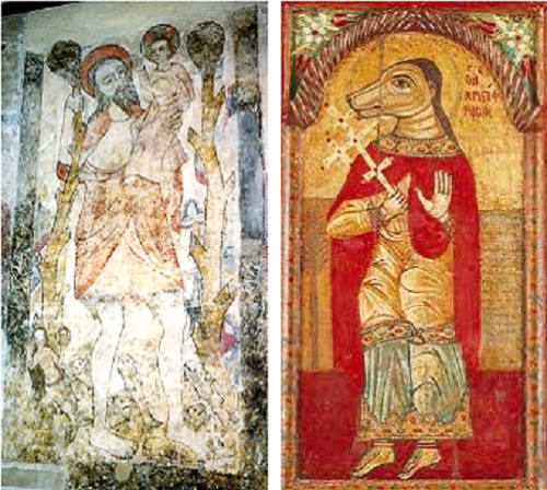 Late Medieval, 13th – 14th Century A.D. painting of Saint Christopher as a giant in St. Botolph Church in Devon, England (left). Byzantine Icon of dog-headed Saint Christopher, 1685 A.D., currently in the Byzantine and Christian Museum of Athens (right).